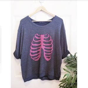 🎉Wildfox Navy Pink Ribcage Quarter Sleeve Sweater